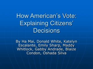 How American's Vote: Explaining Citizens' Decisions