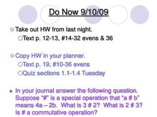 Do Now 9/10/09