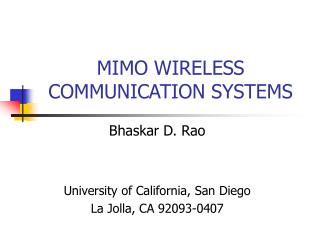 MIMO WIRELESS COMMUNICATION SYSTEMS