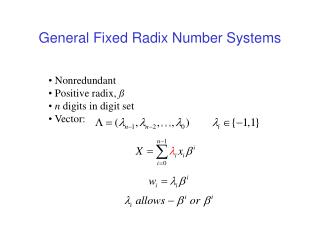 General Fixed Radix Number Systems