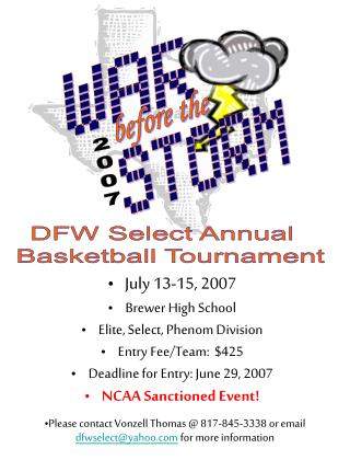July 13-15, 2007 Brewer High School Elite, Select, Phenom Division Entry Fee/Team:  $425