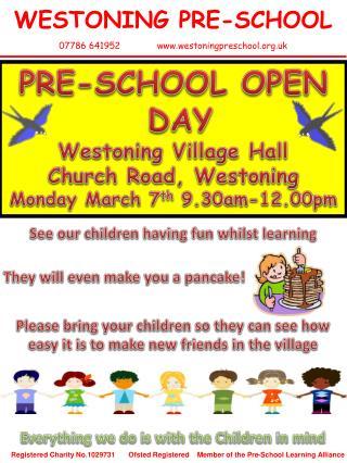 WESTONING PRE-SCHOOL 07786 641952 westoningpreschool.uk