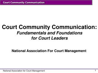 Court Community Communication: Fundamentals and Foundations for Court Leaders