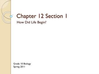 Chapter 12 Section 1