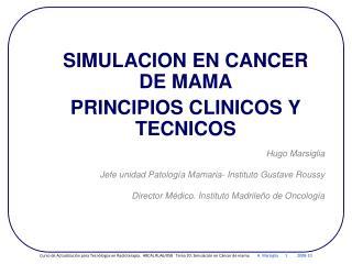 SIMULACION EN CANCER DE MAMA PRINCIPIOS CLINICOS Y TECNICOS