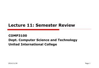 Lecture  1 1: Semester Review