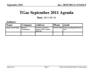 TGac September 2011 Agenda