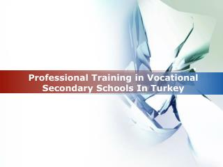 Professional Training in Vocational Secondary Schools In Turkey