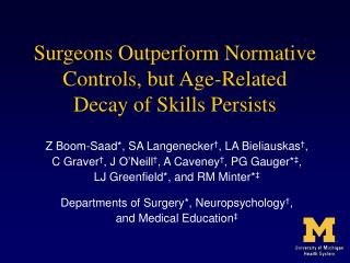 Surgeons Outperform Normative Controls, but Age-Related  Decay of Skills Persists