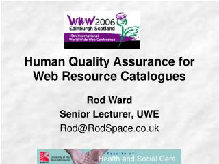 Human Quality Assurance for Web Resource Catalogues