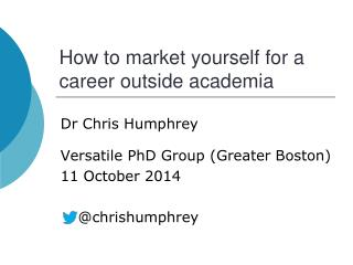 How to market yourself for a career outside academia