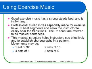Using Exercise Music