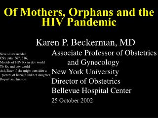 Of Mothers, Orphans and the HIV Pandemic