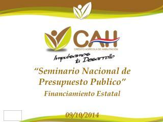 """""""Seminario Nacional de Presupuesto Publico"""" Financiamiento Estatal 09/10/2014"""