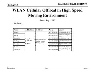 WLAN Cellular Offload in High Speed Moving Environment