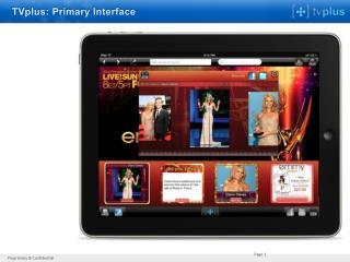 TVplus: Primary Interface