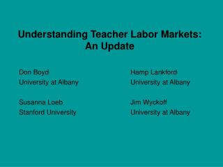 Understanding Teacher Labor Markets: An Update