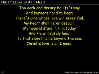 Christ's Love Is All I Need