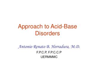 Approach to Acid-Base Disorders