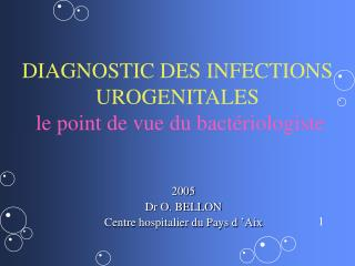 DIAGNOSTIC DES INFECTIONS UROGENITALES le point de vue du bactériologiste
