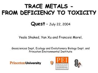 TRACE METALS -                 FROM DEFICIENCY TO TOXICITY
