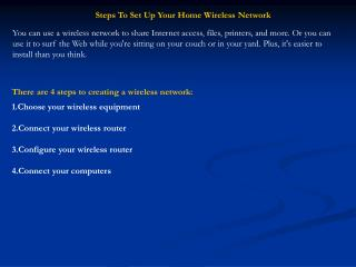 Steps To Set Up Your Home Wireless Network