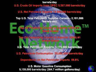 Gallons of Oil per Barrel 42 U.S. Crude Oil Production 5,178,000 barrels/day