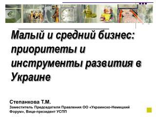 Малый и средний бизнес: приоритеты и инструменты развития в Украине