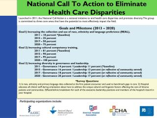 National Call To Action to Eliminate Health Care Disparities