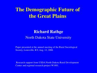 The Demographic Future of the Great Plains