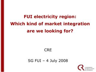 FUI electricity region: Which kind of market integration are we looking for?