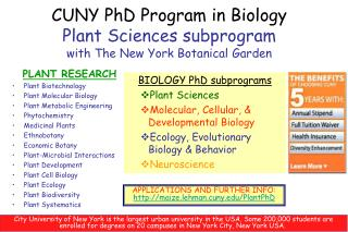 CUNY PhD Program in Biology Plant Sciences subprogram with The New York Botanical Garden