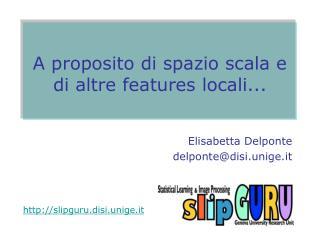 A proposito di spazio scala e di altre features locali...