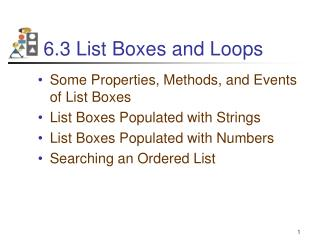 6.3 List Boxes and Loops