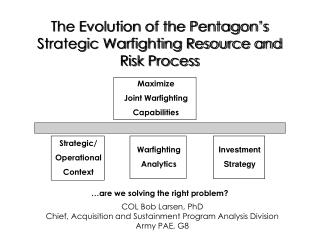 The Evolution of the Pentagon's Strategic Warfighting Resource and Risk Process