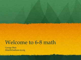 Welcome to 6-8 math