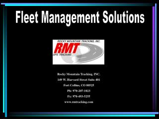 Rocky Mountain Tracking, INC. 149 W. Harvard Street Suite 401 Fort Collins, CO 80525