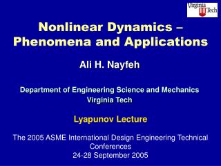 Nonlinear Dynamics –  Phenomena and Applications