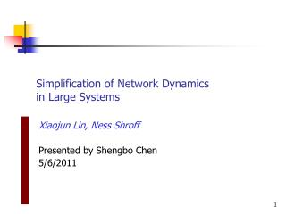 Simplification of Network Dynamics in Large Systems