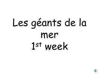 Les géants de la mer 1 st week