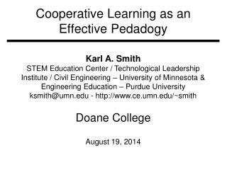 Cooperative Learning as an Effective  Pedadogy