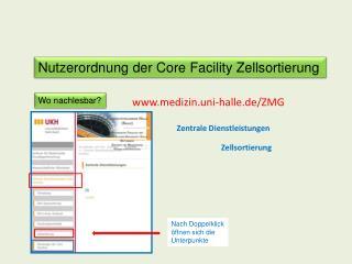 Nutzerordnung der Core Facility Zellsortierung