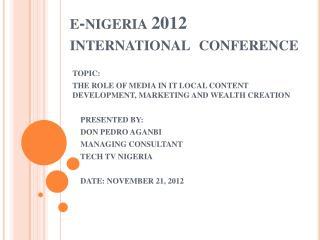 e- nigeria 2012 international conference