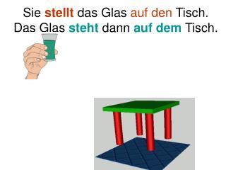 Sie  stellt  das Glas  auf den  Tisch. Das Glas  steht  dann  auf dem  Tisch.