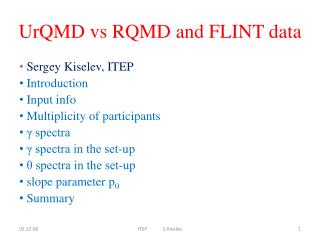 UrQMD vs RQMD and FLINT data