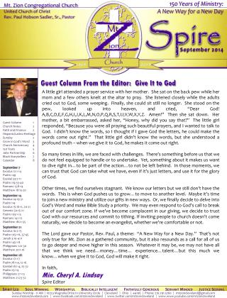 Guest Column From the Editor: Give It to God