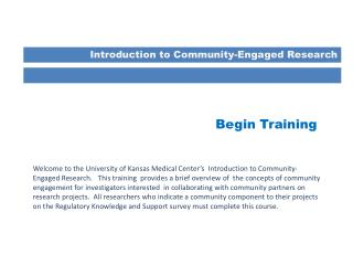 Introduction to Community-Engaged Research