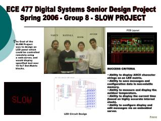 ECE 477 Digital Systems Senior Design Project   Spring 2006 - Group 8 - SLOW PROJECT