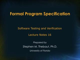 Formal Program Specification