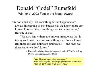 "Donald ""Godel"" Rumsfeld"